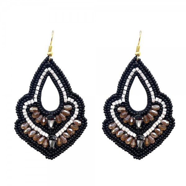 """Beaded Drop Earrings Featuring Rhinestone Accents.   - Approximately 3"""" Long"""