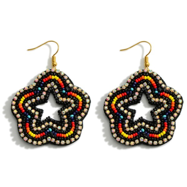 "Beaded Star Earrings Featuring Multicolor Accents and Rhinestone Details.   - Approximately 2.5"" Long"