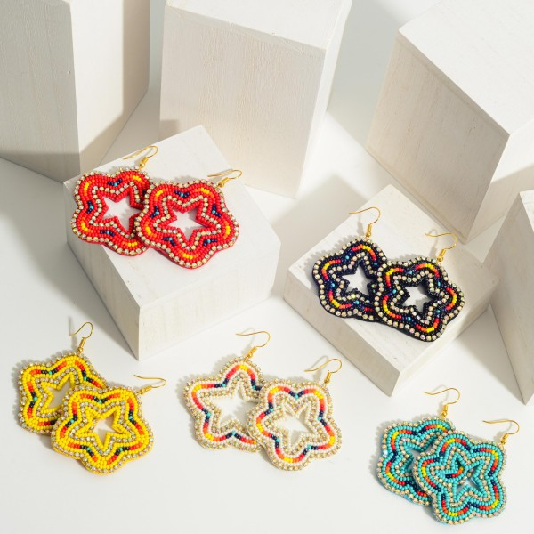 """Beaded Star Earrings Featuring Multicolor Accents and Rhinestone Details.   - Approximately 2.5"""" Long"""