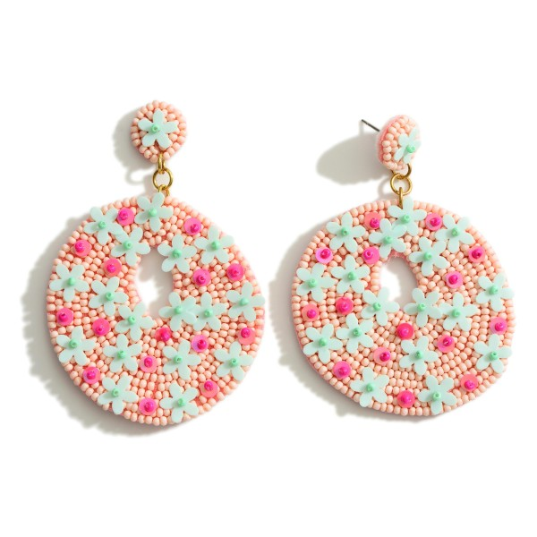 """Beaded Drop Earrings Featuring Flower Accents.   - Approximately 2.75"""" Long"""