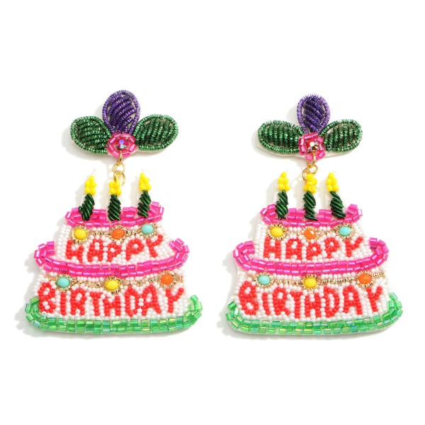 """Beaded Birthday Cake Earrings that Say """"Happy Birthday"""".  - Approximately 3"""" in Length"""