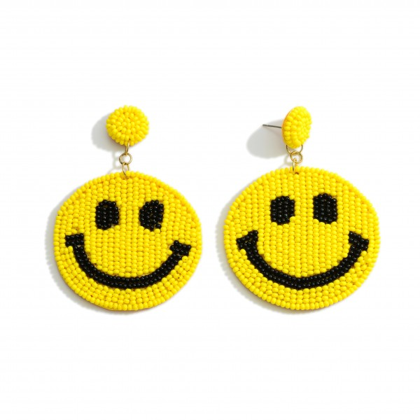 """Beaded Smiley Face Earrings.   - Approximately 3"""" Long"""