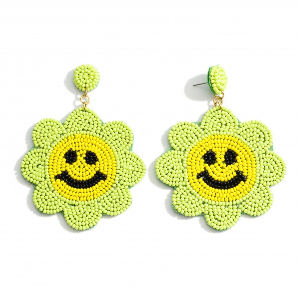 """Floral Shaped Beaded Drop Earrings Featuring Smiley Face Accents.   - Approximately 3"""" Long"""