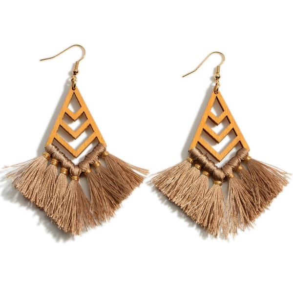 """Wooden Drop Earrings Featuring Tassel Accents.   - Approximately 3"""" Long"""