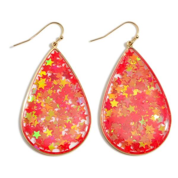 "Sparkly Star Teardrop Earrings.   - Approximately 2.5"" Long"