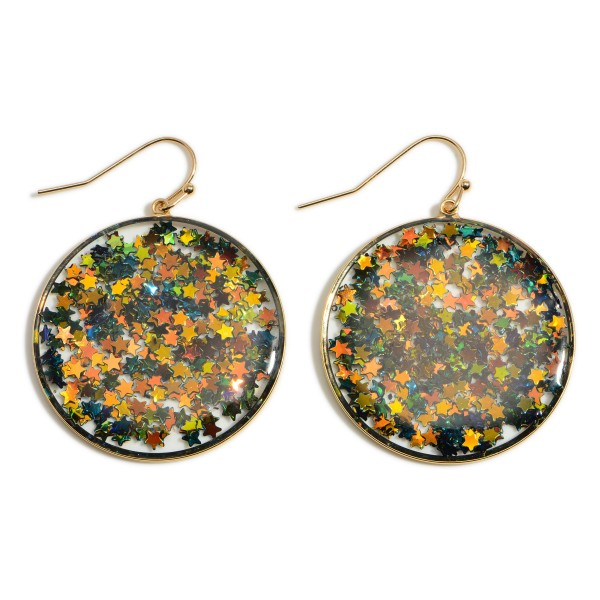 """Round, Sparkly Star Drop Earrings.   - Approximately 2"""" Long"""