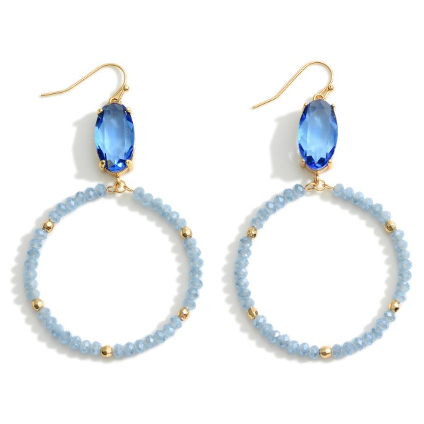"""Beaded Drop Earring featuring Crystal Accents.  - Approximately 3.25"""" Long"""