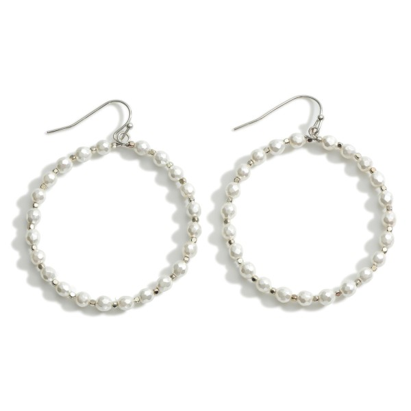"""Circle Drop Earrings featuring Pearl Accents.  - Approximately 2.5"""" Long"""