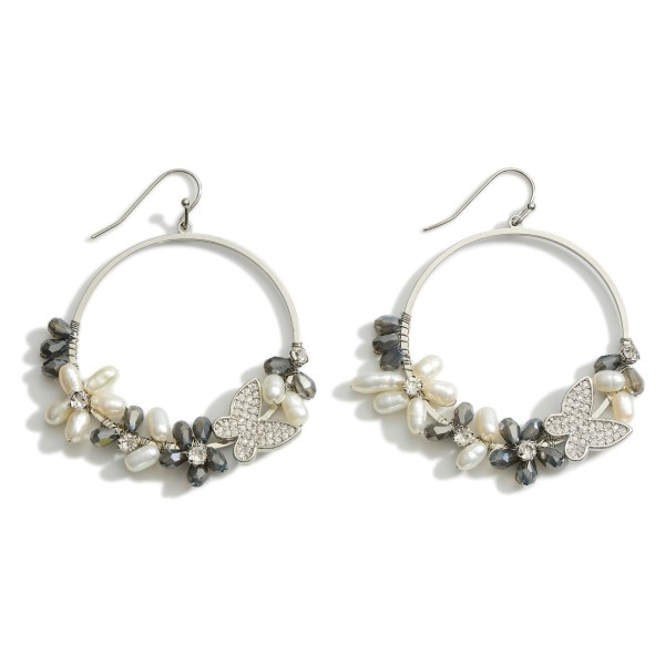 """Metal Butterfly Drop Earrings featuring Pearl and Beaded Accents.   - Approximately 1.5"""" in Diameter"""