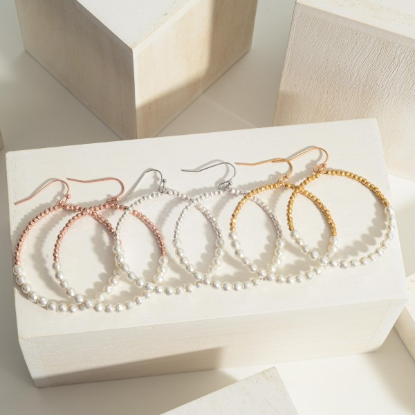 """Beaded Circle Drop Earrings featuring Pearl Accents  - Approximately 2"""" Long"""