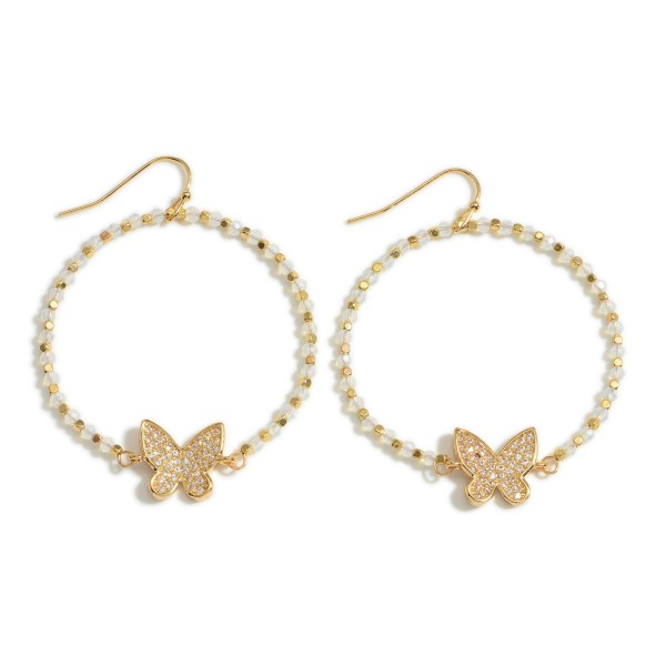 """Circular Beaded Drop Earrings Featuring Butterfly Accents.   - Approximately 2"""" Long"""