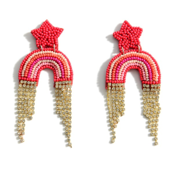 "Beaded Rainbow Earrings Featuring Star Accents and Cubic Zirconia Details.   - Approximately 3"" Long"