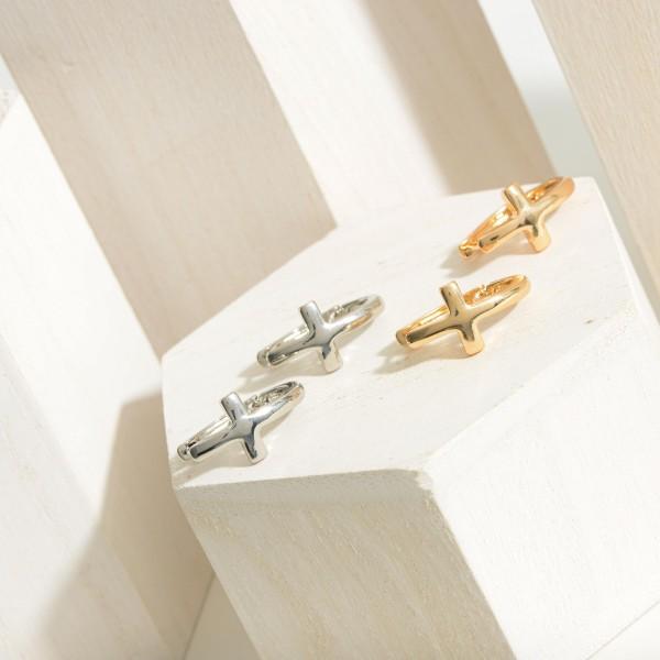 """Thick Metal Huggie Cross Hoop Earrings Featuring Hinge Closure.  - Approximately 1"""" in Length"""