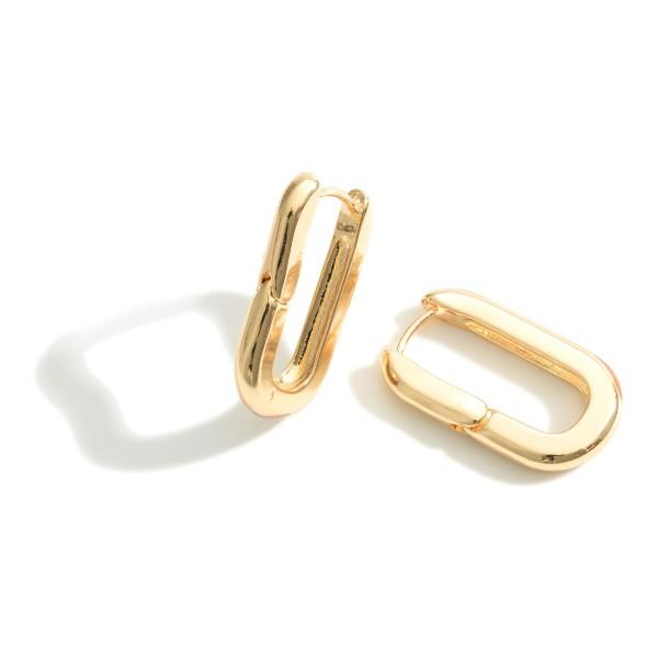 """Thick Metal Huggie Hoop Earrings Featuring Hinge Closure.  - Approximately 1"""" in Length"""