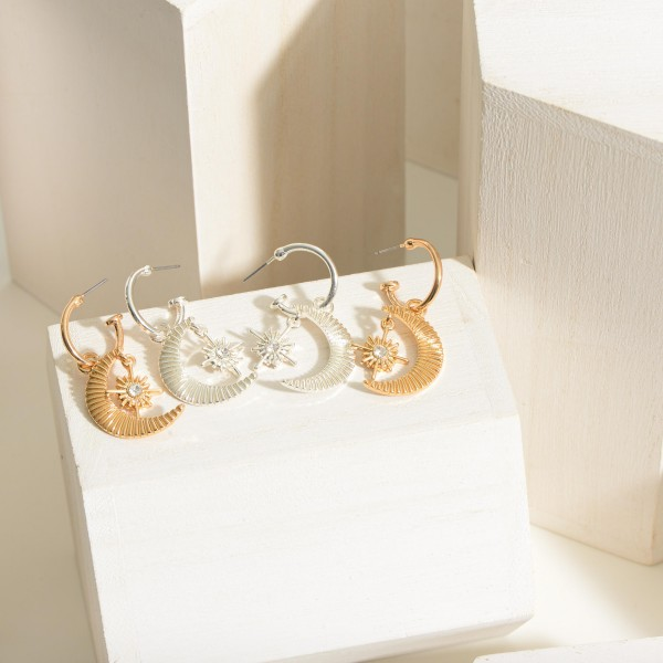 """Gold Hoop Earrings featuring Crescent Moon Pendant.   - Approximately 1.25"""" in Length"""