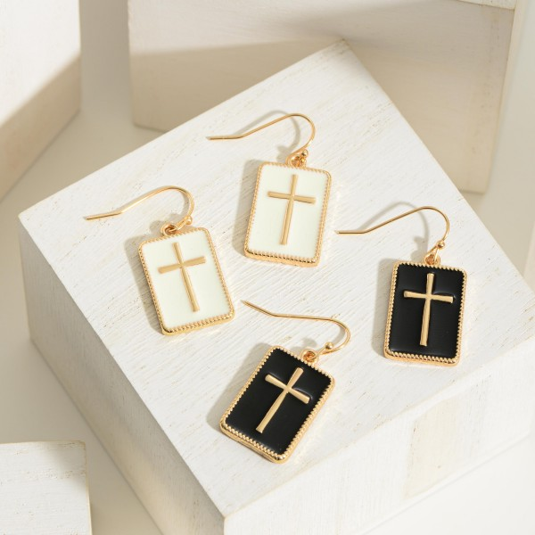 """Gold Drop Earrings featuring Cross Pendant.   - Approximately 1"""" in Length"""