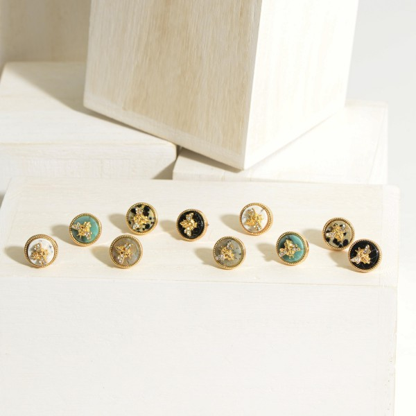 """Gold Bee Stud Earrings Featuring Natural Stone Accents.  - Approximately .5"""" in Diameter"""
