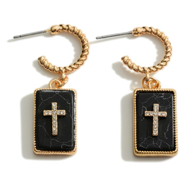 """Gold Cross Hoop Earrings Featuring Natural Stone Accents.  - Approximately 1.5"""" in Length"""
