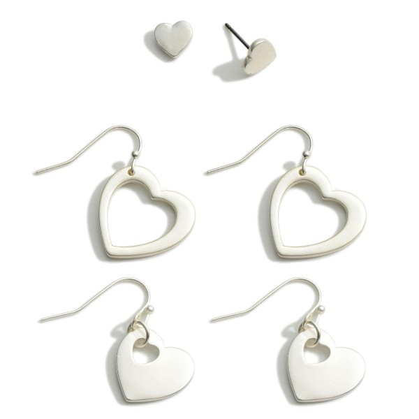 Set of Three Heart Themed Metal Earrings.  - Heart Studs Measure Approximately .5cm in Diameter - Heart Drop Earrings are Approximately 2cm in Length - Heart Drop Earrings are Approximately 2.5cm in Length