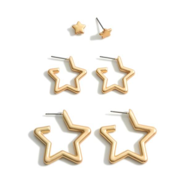 Wholesale set Three Star Earrings Studs Diameter Small Hoops Diameter Large Hoop