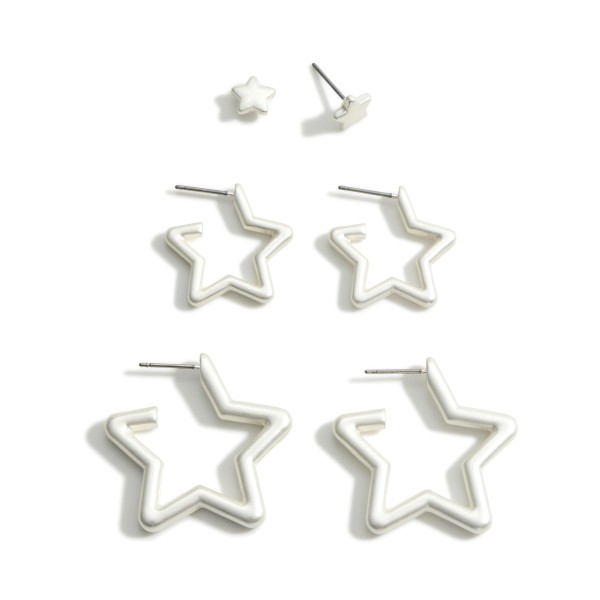"""Set of Three Star Earrings.  - Studs Approximately .25"""" in Diameter - Small Hoops Approximately .75"""" in Diameter - Large Hoops Approximately 1"""" in Diameter"""