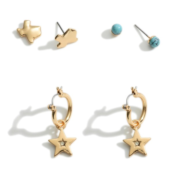 Set of Three Pairs of Texas Themed Earrings Featuring Turquoise Accents.  - Turquoise Studs Approximately .25mm in Diameter - Texas Stud Earrings Approximately .75mm in Diameter - Star Huggies Approximately 3cm in Length