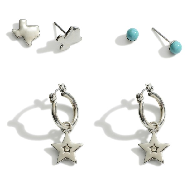 Set of Three Pairs of Texas Themed Earrings Featuring Turquoise Accents.  - Turquoise Studs Approximately .25cm in Diameter - Texas Stud Earrings Approximately .75cm in Diameter - Star Huggies Approximately 3cm in Length