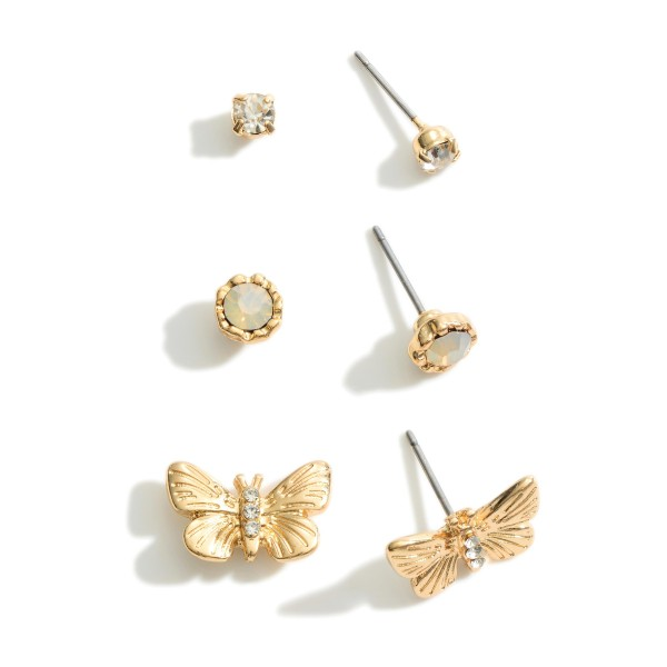 "Set of Three Stud Earrings.  - CZ Studs Approximately .25cm in Diameter - Opal Studs Approximately .5cm in Diameter - Butterfly Studs Approximately .75"" in Diameter"