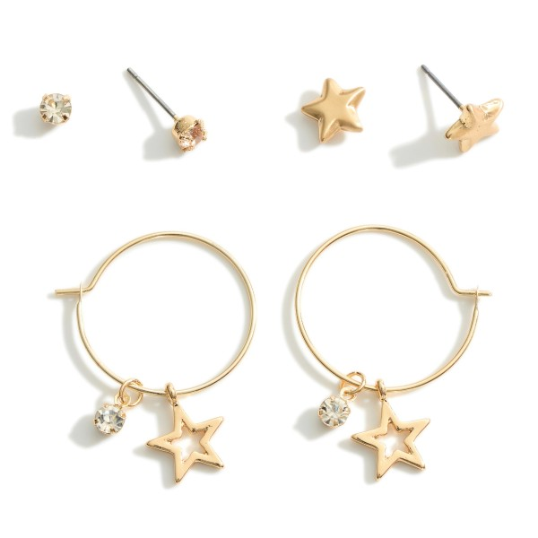 """Set of Three Star Earrings featuring CZ Accents.  - CZ Studs Approximately .25cm in Diameter - Star Studs Approximately .75cm in Diameter - Star Hoop Earrings Approximately 1.25"""" in Length"""