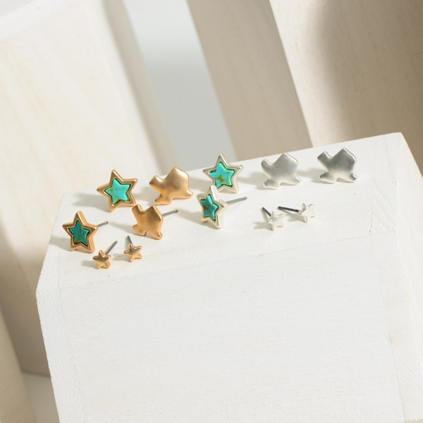 Set of Three Pairs of Texas Themed Earrings Featuring Turquoise Accents.  - Star Studs Approximately .25cm Diameter - Texas Studs Approximately 1cmm in Diameter - Star Stud Earrings Approximately 1cm in Diameter