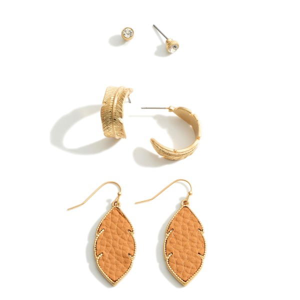 """Set of Three Feather Earrings.  - Studs Approximately .5cm in Diameter - Hoops Approximately .75"""" in Diameter - Feather Approximately 1.25"""" in Length"""