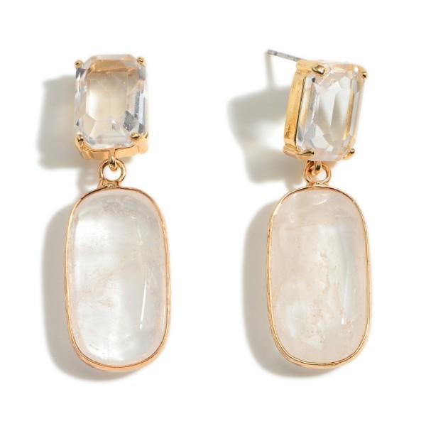 """Metal Drop Earrings Featuring Natural Stone Accents and Clear Crystal Details.   - Approximately 1.75"""" Long"""