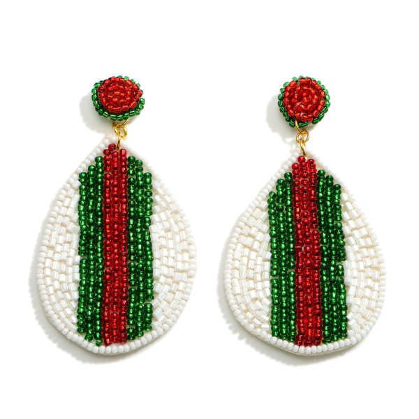 """Teardrop Beaded Earrings Featuring Iconic Red and Green Stripe.  - Approximately 3.25"""" in Length"""