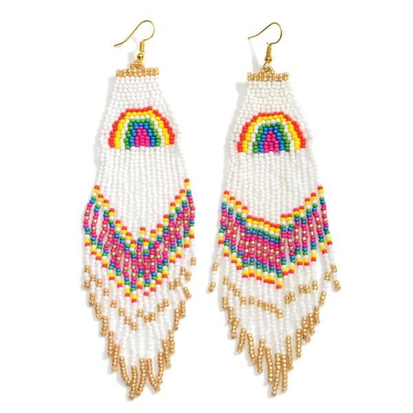 "Long Beaded Rainbow Earrings.  - Approximately 6"" in Length"