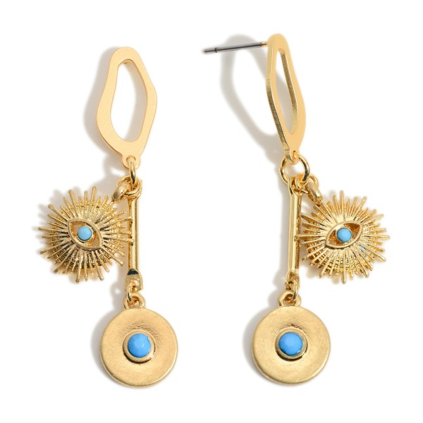 """Gold Drop Earrings featuring a Turquoise Evil Eye Pendant.  - Approximately 2"""" in Length - Pendants 1cm in Diameter"""