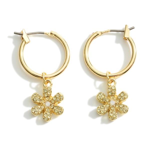 """Dainty Pave Flower Huggie Hoop Earrings.  - .5"""" in Hoop Diameter - Approximately 1.25"""" in Length"""