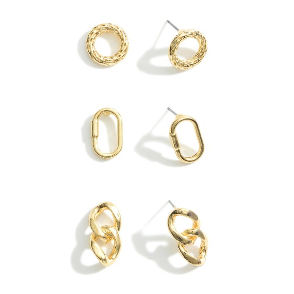 Set of 3 Gold Stud Earrings.  - Carabiner Studs Approximately 1.25cm in Length - Circular Studs Approximately 1cm in Diameter - Chain Link Studs Approximately 1.5cm in Length