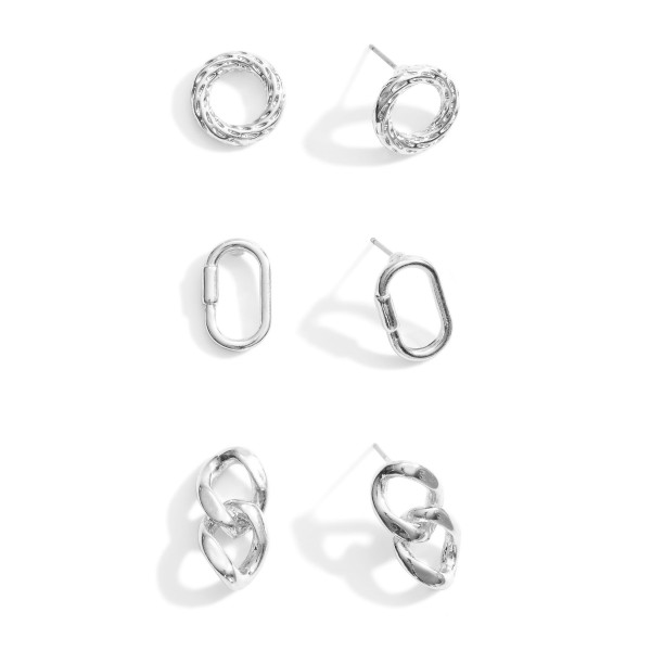 Set of 3 Silver Stud Earrings.  - Carabiner Studs Approximately 1.25cm in Length - Circular Studs Approximately 1cm in Diameter - Chain Link Studs Approximately 1.5cm in Length