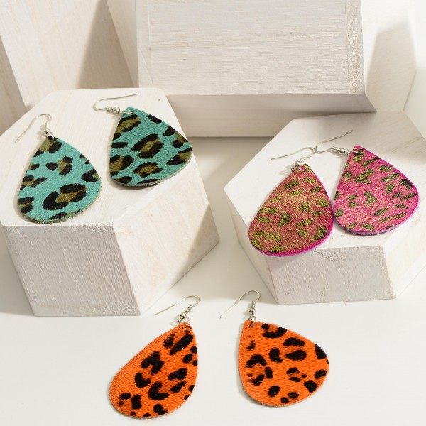 """Faux Leather Leopard Print Teardrop Earrings.   - Approximately 3"""" Long"""