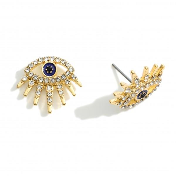 "CZ Adorned Evil Eve Stud Earrings.   - Approximately 18"" Long"
