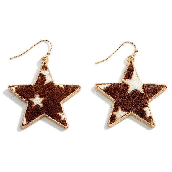 "Animal Print Star Earrings.   - Approximately 1.75"" Long"