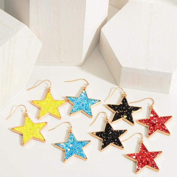 "Glitter Star Earrings.   - Approximately 1.75"" Long"