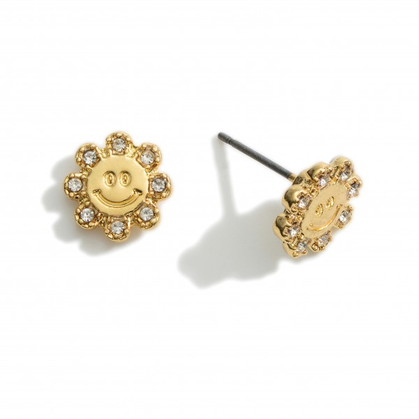 """Floral Shaped Stud Earrings Featuring Engraved Smiley Face and CZ Details.   - Approximately 1/2"""" in Diameter"""