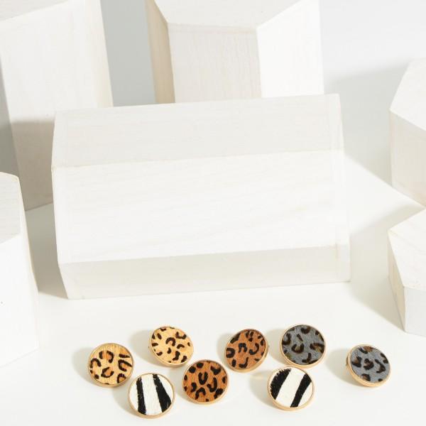 Animal Print Stud Earrings.   - Approximately 14mm in Diameter