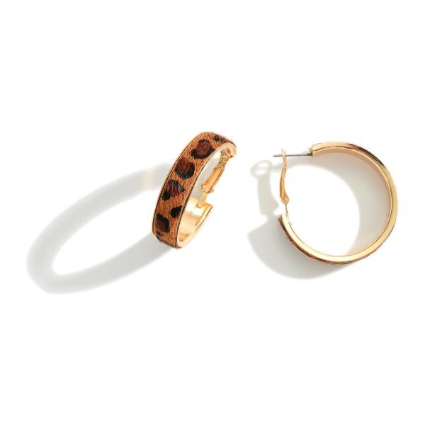 """Animal Print Hoop Earrings.   - Approximately 1.25"""" in Diameter"""