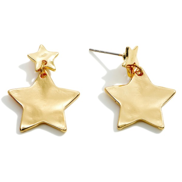 """Hammered Star Drop Earrings.   - Approximately 1"""" in Diameter"""