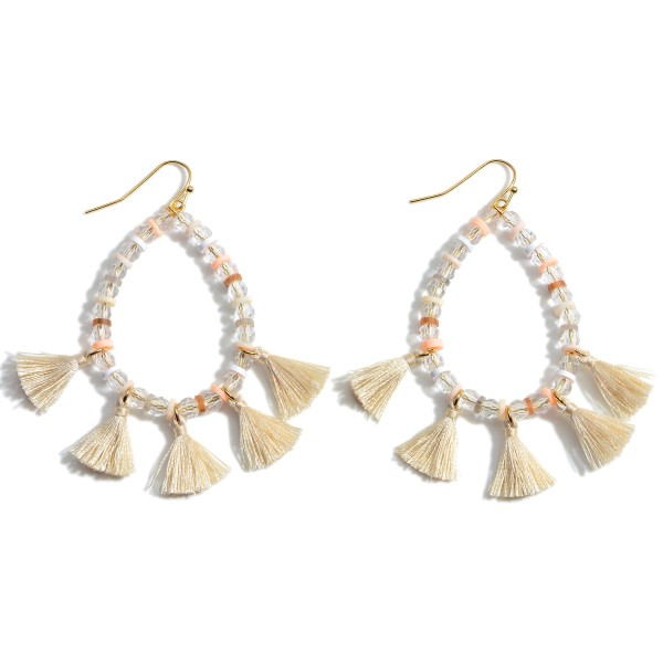 """Heishi Bead Teardrop Fringe Earrings featuring Crystal Beads.  - Approximately 2.5"""" in Length"""