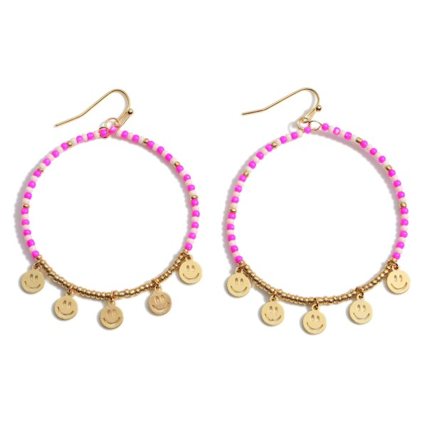 """Beaded Drop Earrings featuring Smiley Face Accents.  - Approximately 1.5"""" in Diameter - Approximately 3"""" in Length"""