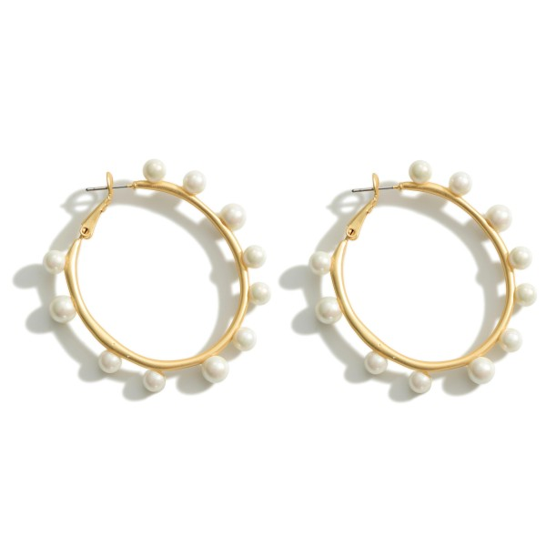 """Hoop Earrings Featuring Pearl Accents.  - Approximately 2"""" in Diameter"""