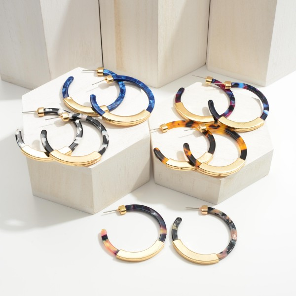 """Resin Hoop Earrings Featuring Gold Accents.  - Approximately 2"""" in Diameter"""
